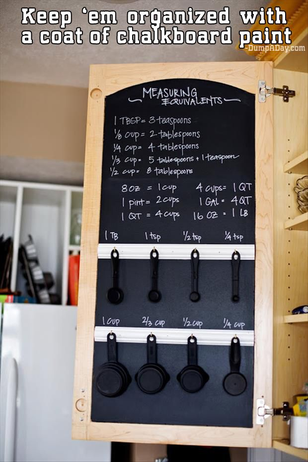 THIS is how you should organize your measuring spoons and cups. | 52 Clever Organizing Tips To Rein In The Chaos