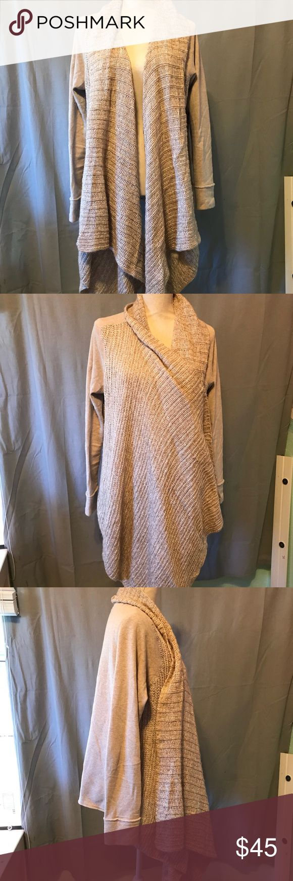 Saturday Sunday Tan Cardigan Long Extra long front tan cardigan by Saturday Sunday. Size XL. Short in back, very cozy. Anthropologie Sweaters Cardigans