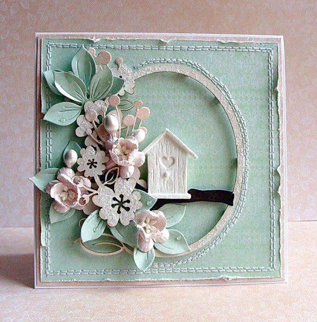 handmad card from Paper Gallery ... aqua and white ... shabby chic ... distressed edges ... posey of dimensional paper flowers ... cute little bird house ... square format ... delightful!