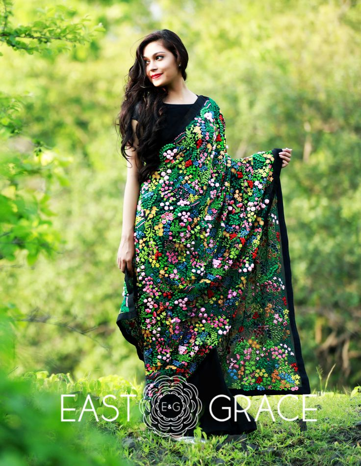 Featuring a pitch black pure silk chiffon saree with Mille Fleurs embroidery all over the pallu and black raw silk border. Mille Fleurs literally means 'a thousand flowers' in French. This enchanting black saree is a royal stunner. PRICE: INR 38,753.00; USD 569.90 To buy please click here: https://www.eastandgrace.com/products/mille-fleurs For help reach us at care@eastandgrace.com. With love www.eastandgrace.com