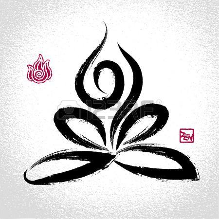 Yoga lotus pose et le symbole de l'élément feu avec le style de pinceau oriental