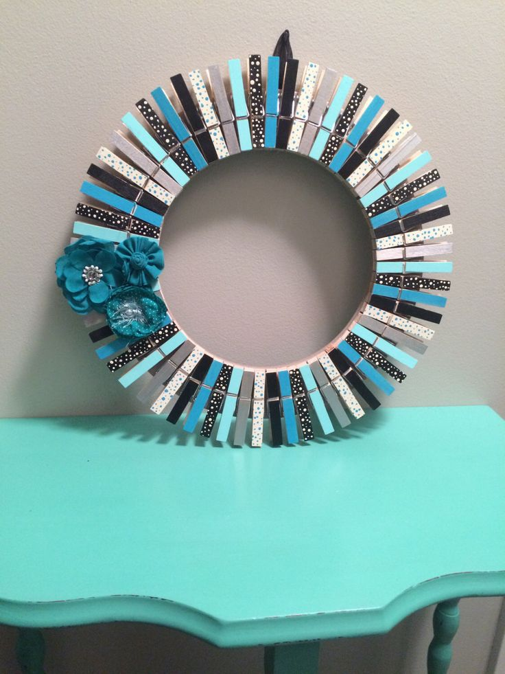 Clothespin wreath by RusttooRuffles on Etsy https://www.etsy.com/listing/454118526/clothespin-wreath