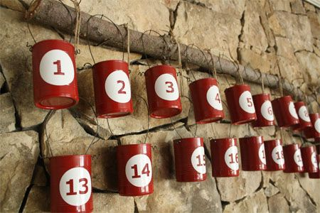 Recycled Tin Can Advent Calendar