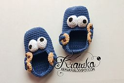 Ravelry: Baby booties - Cookie monster pattern by Kamila Krawka Krawczyk