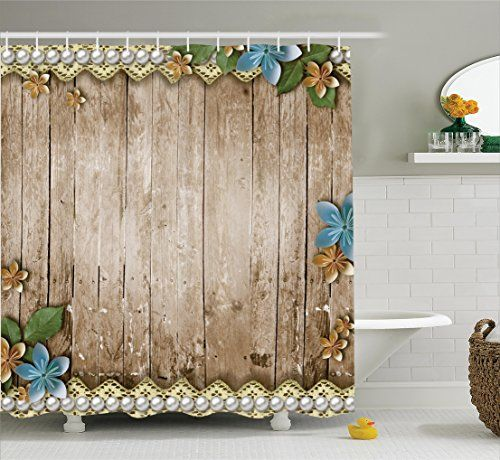 Bathroom Rugs Ideas | Ambesonne Pearls Decor Collection Rustic Wooden  Surface With Flowers Pearls Lace Texture