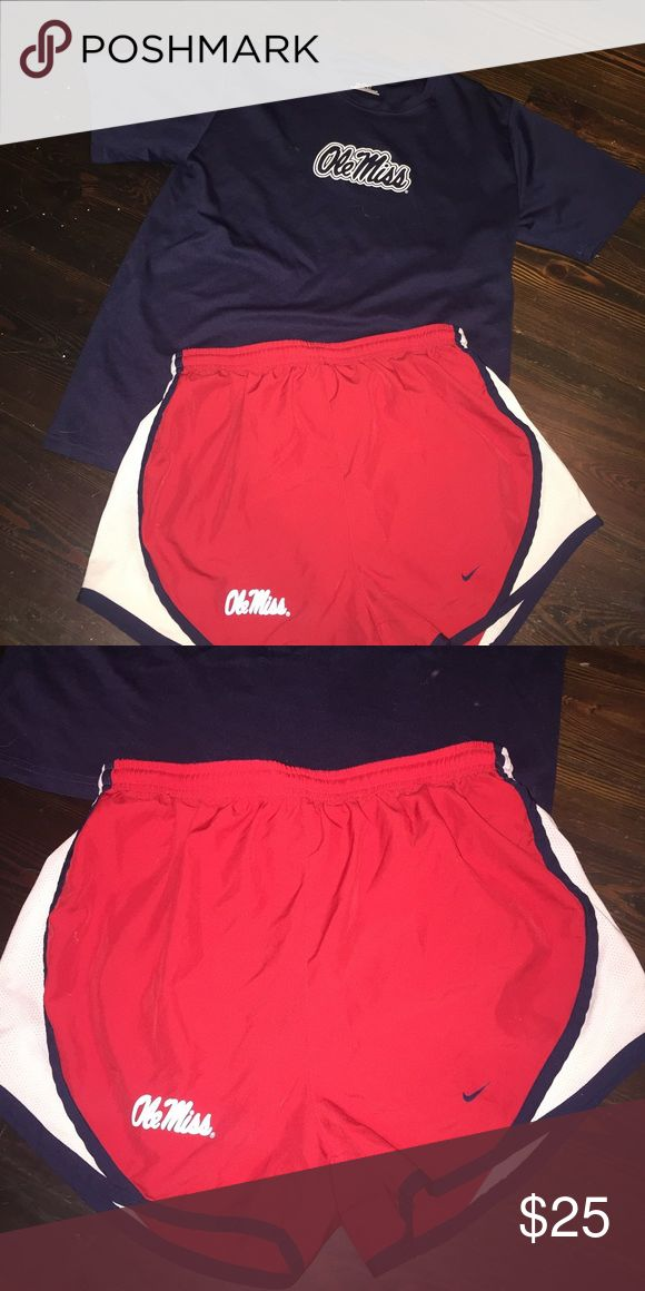 Ole Miss Nike Dri fit Shorts and T shirt bundle Super cute for all you university of Mississippi ole miss fans! HOTTY toddy everyone! Both are size small (the shirt is youth large underamour and its equlavemt to an adult S Nike Shorts