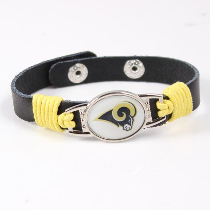 2017 New 12MM Adjustable Womens Mens Black Leather Bracelet Football NFL Los Angeles Rams Genuine Leather Cuff Bracelet&Bangle