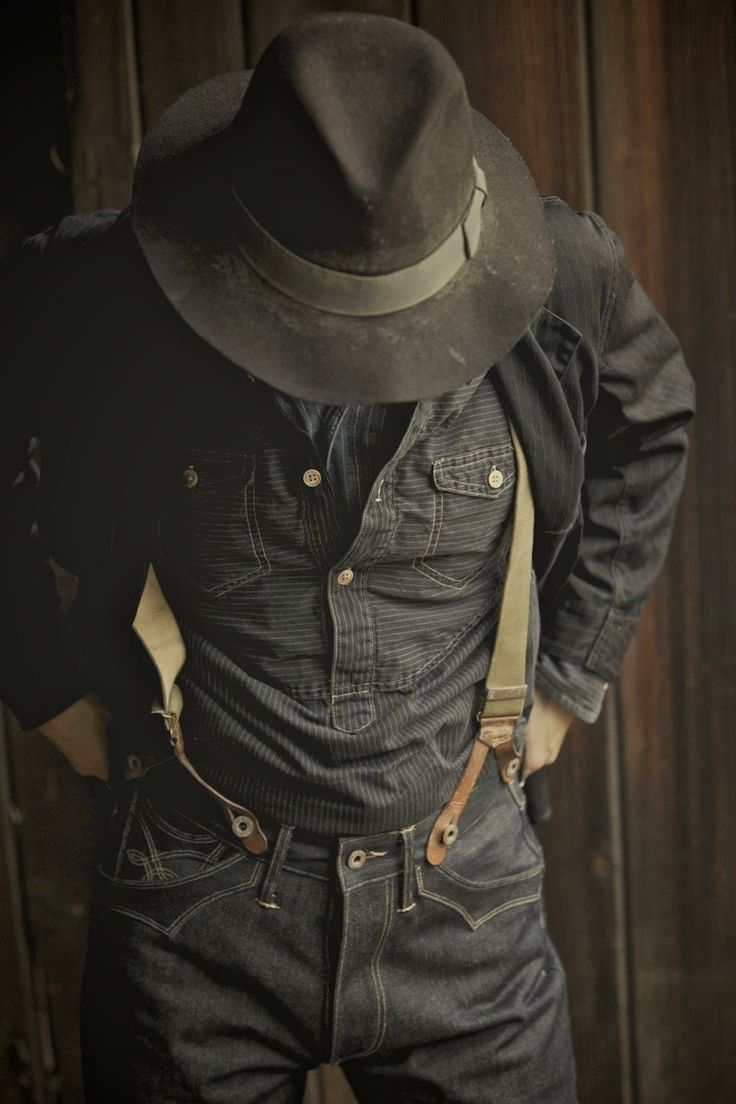 Rustic Outfits, Vintage Outfits, Style Brut, Denim Fashion, Fashion Outfits, Look Man, Mode Jeans, Rugged Style, Raw Denim