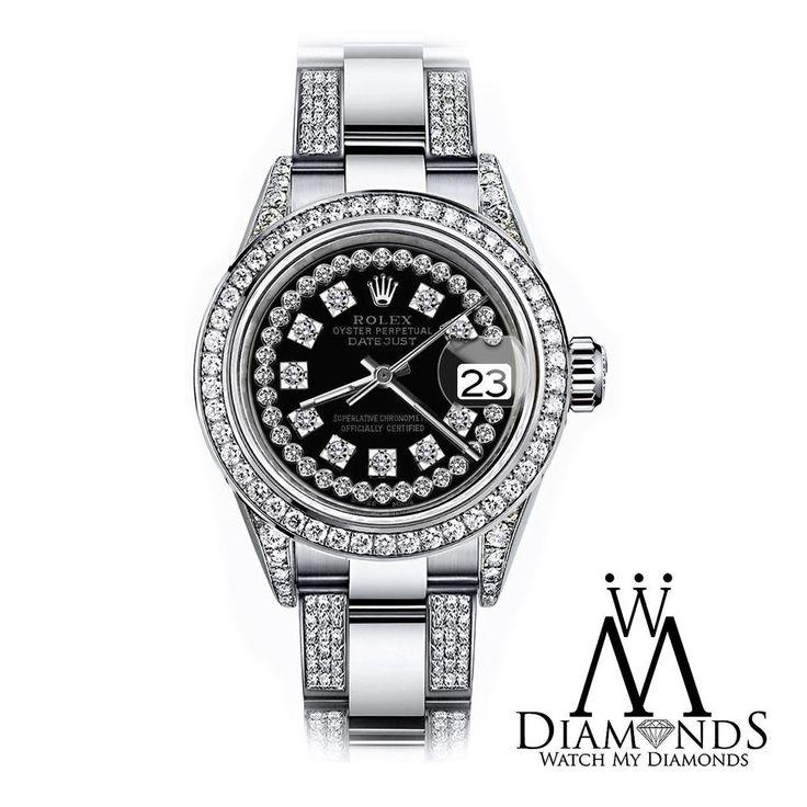 Rolex Women's 26mm Oyster Perpetual Datejust Custom Black String Diamonds