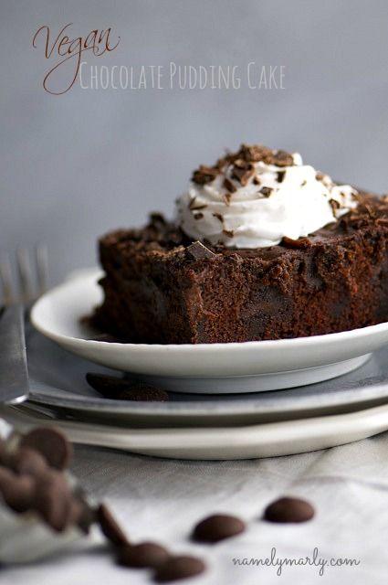 Vegan Chocolate Pudding Cake (coconut milk, corn starch, flour, cocoa, baking soda, baking powder, salt, sugar, margarine, vegetable oil, ground flax seed, vinegar, soy milk, water, vanilla, chocolate chips)