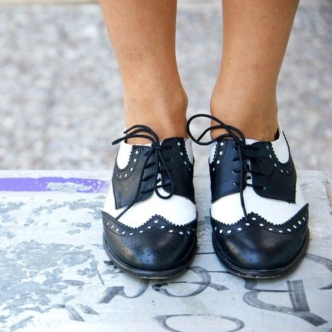 black & white oxfords.   I've always loved these... had a pair of Doc Martens back in the day.