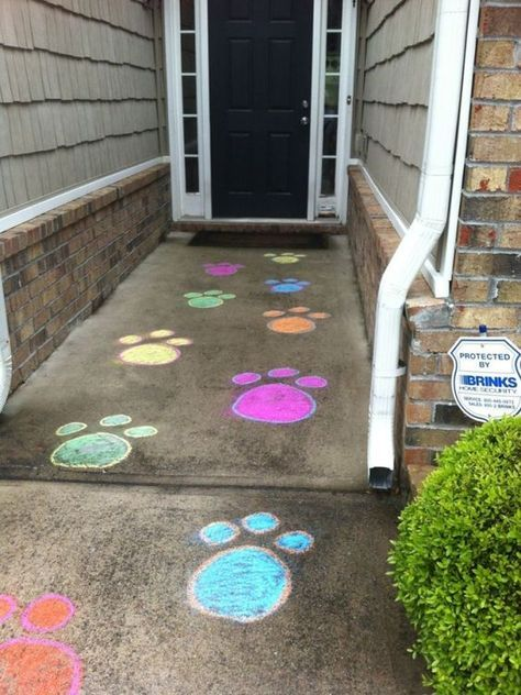 21 Paw Patrol Birthday Party Ideas - Puppy Party Paw Chalk Prints