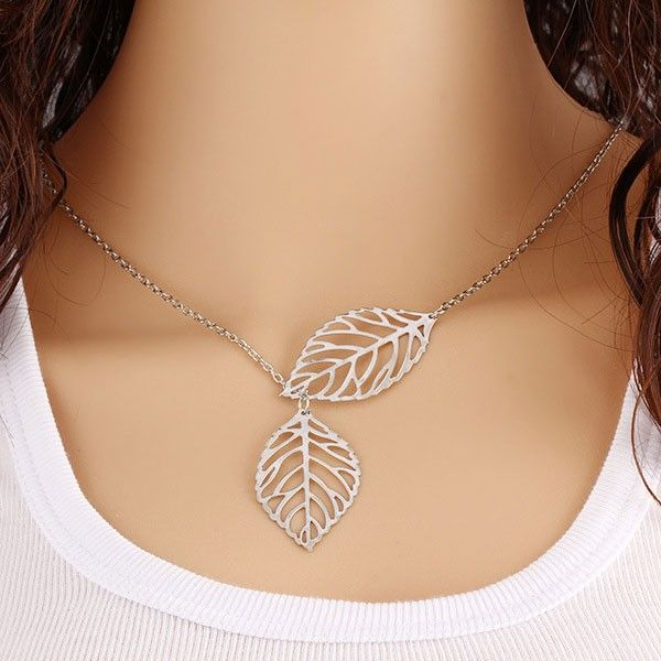 Cool! Fresh Hollow Two Leaves Silvering Pendant Clavicle Necklace just $10.99 from ByGoods.com! I can't wait to get it!