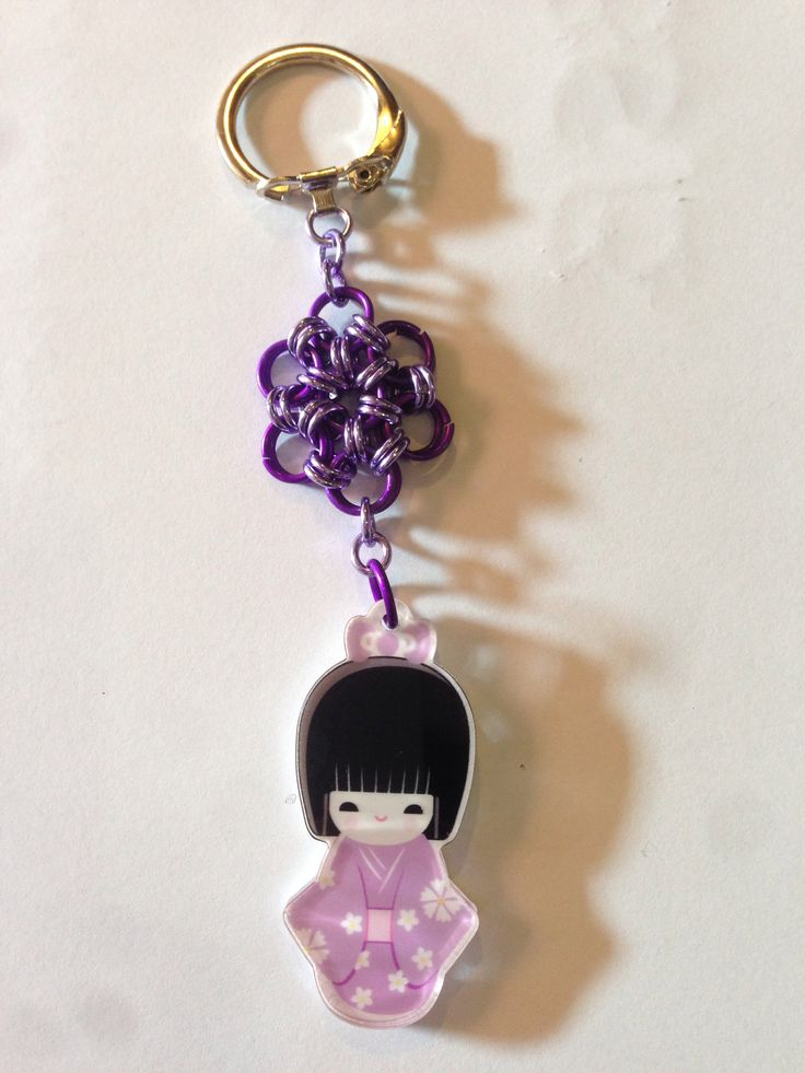 Keychain japanese chainmail flower and japanese girl