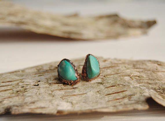 Raw turquoise earrings turquoise stud earrings raw turquoise