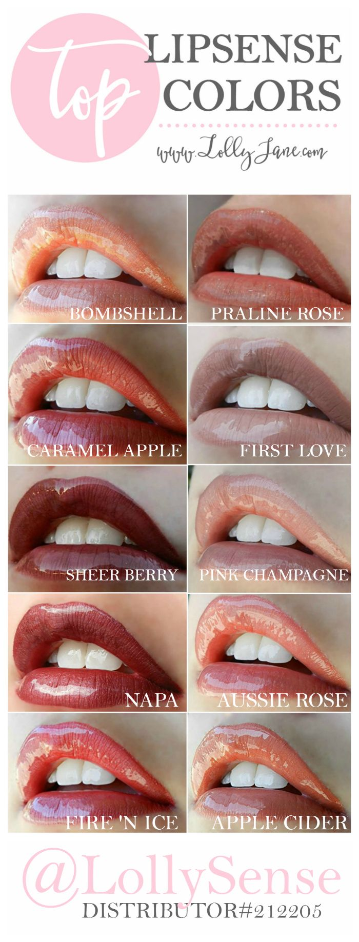 Check out the top LipSense colors, most popular lipstick colors! We love LipSense! The best lipstick out there, waterproof, smudgeproof, kissproof, won't budge or transfer! | Distributor #212205