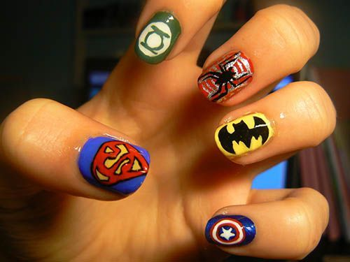 The superhero nails are here to save the day! - 18 Best Keeping It Cute Images On Pinterest Nail Ideas, Nail Art