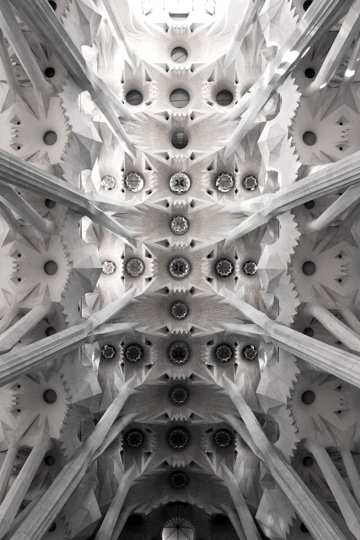 Sagrada Familia by Antonio Gaudi: Antony Gaudi, Sagrada Familia Barcelona, Antonio Gaudi, Architecture Sagrada, Antonio Building, Church Ceilings, Gaudi Architecture, Barcelona Spain, Spanish Architecture