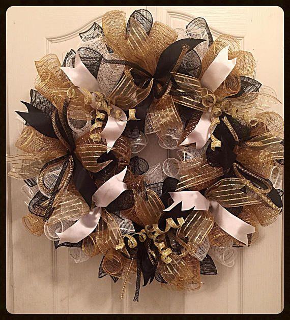 Glitter Front Door Deco Mesh Wreath Black and Gold Christmas Wreath