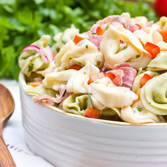 Zesty Tortellini Salad - the kitchn: Tortellinisalad, Zesty Tortellini, Salad Recipes, Pasta Salad, Red Wine, Red Onions, Summer Side Recipes, Red Belle Peppers, Tortellini Salad
