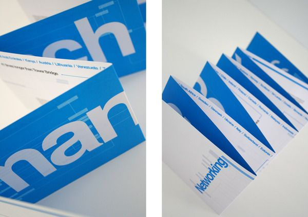 Concertina folded with bold one colour typography to create impact...