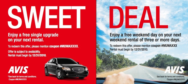 Great Direct Mail Pieces: Avis Car Rental. I like the Sweet Deal haedline!