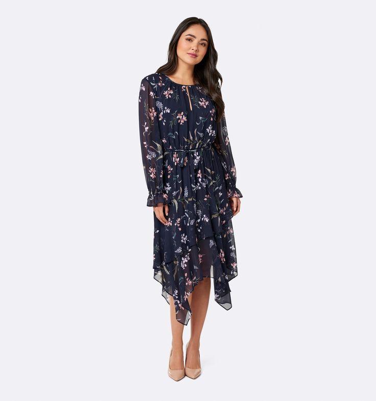 Tia asymmetric frill maxi dress Midnight Garden Print - Womens Fashion | Forever New