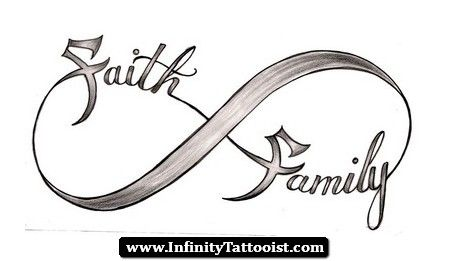 Infinity Tattoos Tumblr 03 Family   I love this ribbon infinity and instead of faith i want a simple cross.