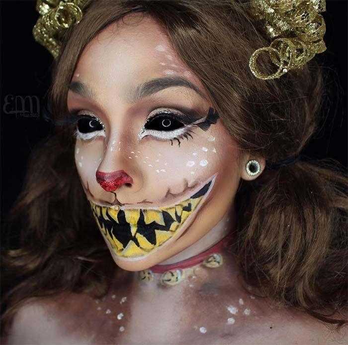 Creative Halloween Makeup Ideas: Horror Reindeer Halloween Makeup