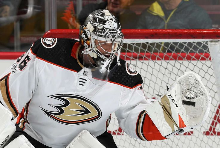 John Gibson #36 of the Anaheim Ducks catches a puck during warmups prior to his game against the Philadelphia Flyers on October 24, 2017 at the Wells Fargo Center in Philadelphia