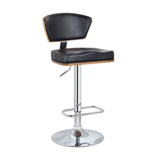 Bükülmüş ceviz ağaç üzeri deri kaplama bar sandalyesi Hidrolik sistem kromaj ayaklıdır. metal bar sandalyeleri ve deri kaplama bar sandalyeleri fiyat liste.