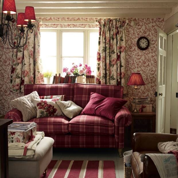 Laura Ashley country cottage - love the raspberry tartan