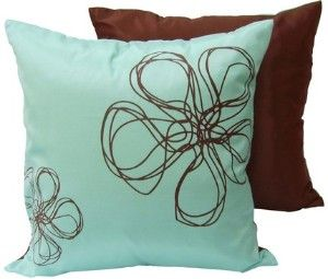 Aqua blue and brown accent pillows--This should match your bedroom perfectly!