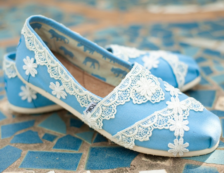 These shoes are 130 dollars but they wouldn't be too difficult to make yourself for less with lace from JoAnns or online sites. Now all you need is the toms. :)