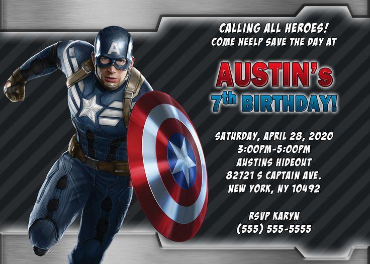 Captain America 4 Birthday Invitation