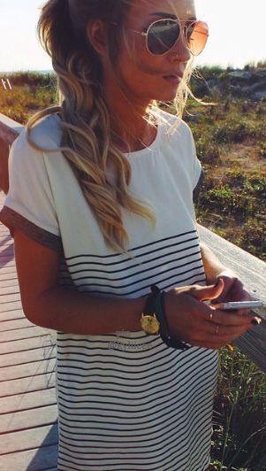 Womens Ladies Cotton T Shirt Tops Striped Mini Dress Long Blouse Tee Shirts.