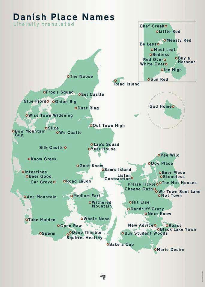 #denmark #cities #literal #translation #Danmark #byer #navner #engelsk #English
