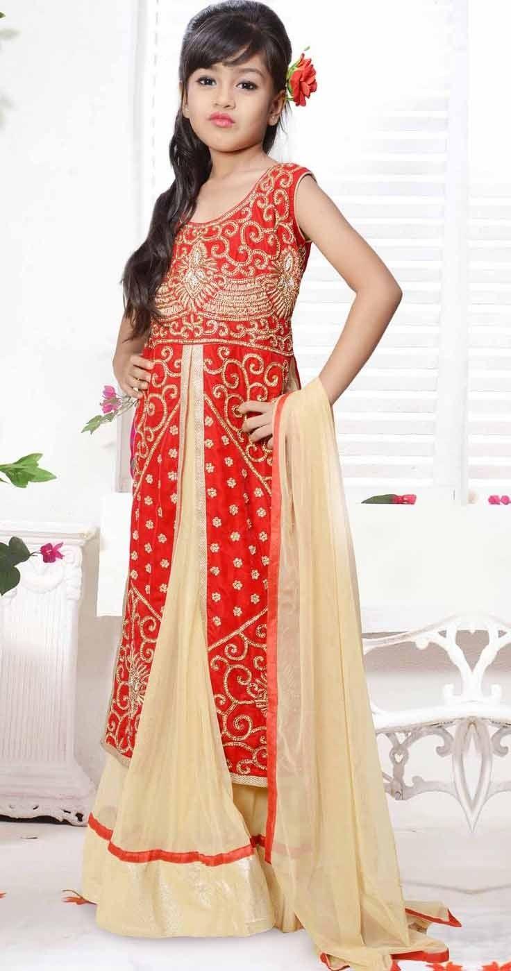#Cream & Red Velvet Net Jacket Style #Kids #Salwar #Kameez @mokshafashions
