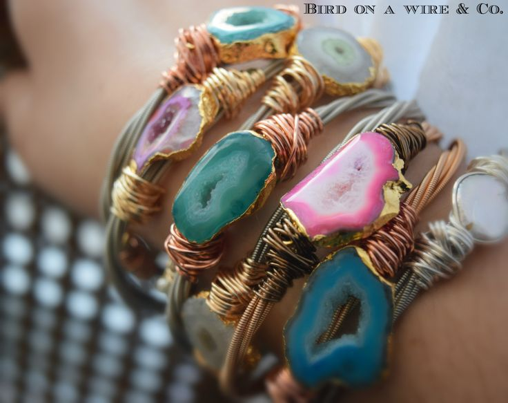 Agate Slice Guitar String Bangle-Guitar String Jewelry-Nashville.Memphis. Knoxville. Chattanooga. Tennessee. Bird on a Wire Jewelry