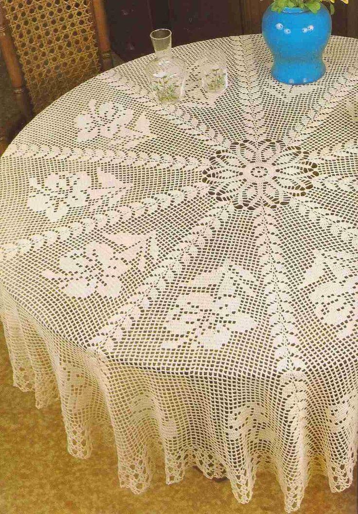 Tapete redondo con flores a Crochet   Manteles   Crochet ...