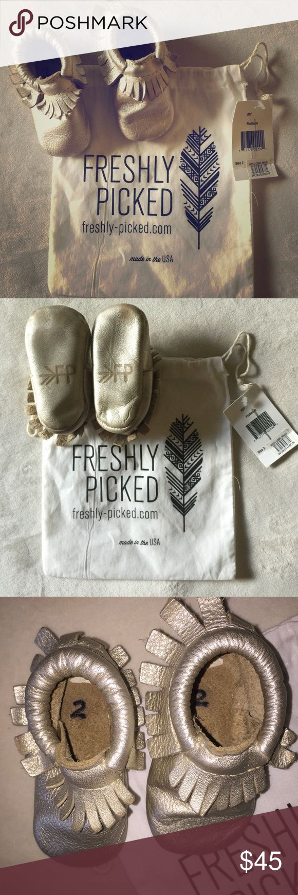Freshly Picked Platinum- Size 2 Freshly Picked Mocassins  Color: Platinum Size: 2  Awesome color as it goes with anything! Purchased @ Nordstrom, comes with dust bag they have been stored in. Freshly Picked Shoes Baby & Walker