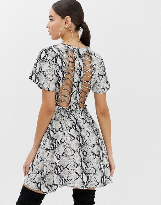 583980831aa Boohoo tea dress with lace up back in snake print in 2019