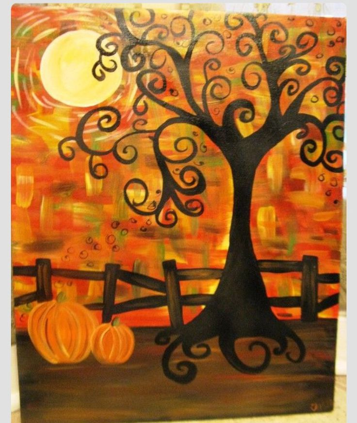 Cute autumn tree pumpkin painting with twirly tree and for Art plastique peinture