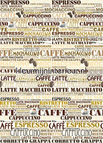 Behang voor op linker of rechter paneel in inham, te combineren met afbeelding van koffiebonen, Cafetaria | Ideal Decor | kleurmijninterieur.nl