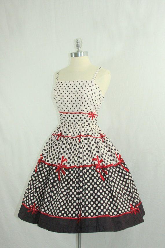 1950s Party Dress  Vintage Cotton Polka by VintageFrocksOfFancy, $260.00
