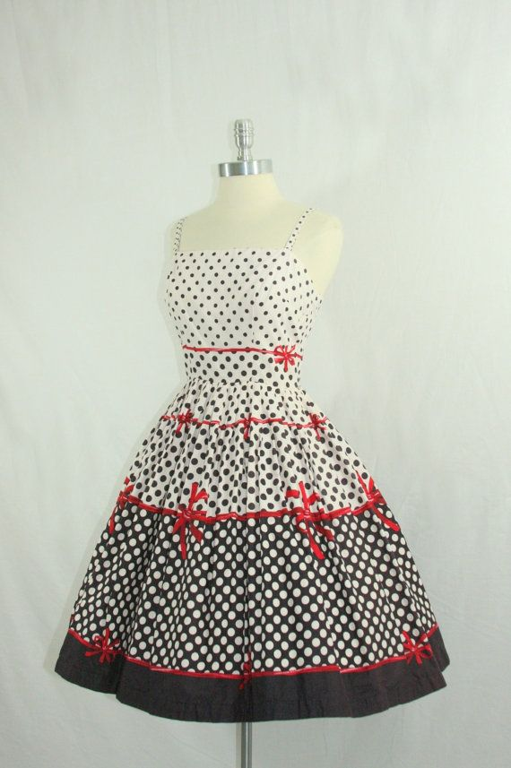 1950s Party Dress  Vintage Cotton Polka by VintageFrocksOfFancy, $260.00