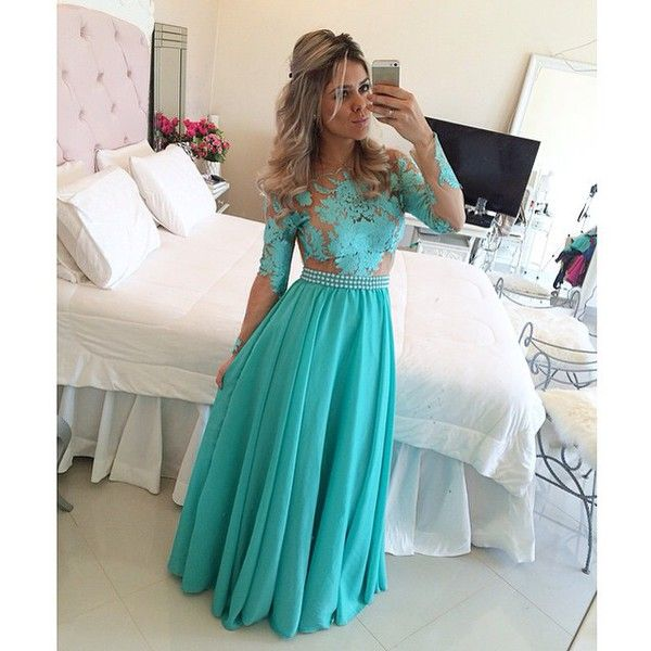 blue evening dress, lace long sleeve prom dresses 2015