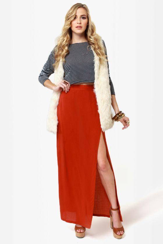 Sexy Orange Skirt - Maxi Skirt - Slit Skirt - $33.00