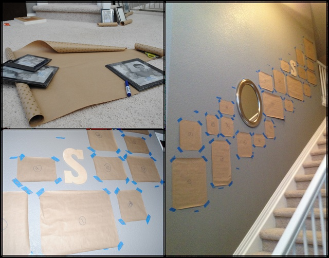 mirror up that I wanted to work around. Marked the wall space about 3.5 ft up from each step. Then 3 ft. of picture space.