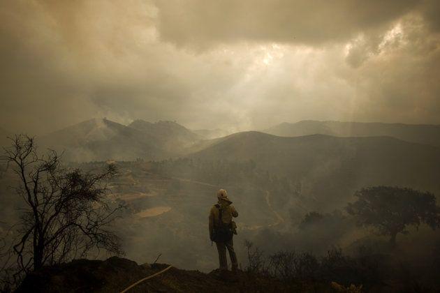 Un pompier fait face à un paysage ravagé par un feu de forêt à Ojen, à proximité de Malaga, en Espagne, le 31 août 2012. Plus de 4000 personnes ont été évacuées de la zone alors que 250 pompiers tentaient d'éteindre l'incendie, épaulés par huit avions et neuf hélicoptères.